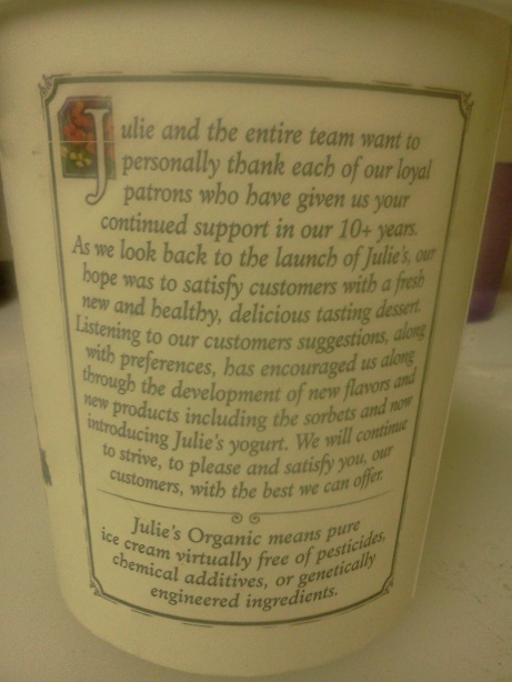 Back of a Julie's Organic ice cream quart full of fail.